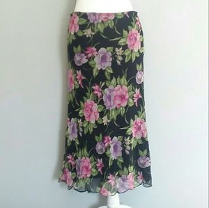 Allison Taylor Silk Floral Midi Skirt